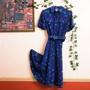 Lovely Vintage Blue Floral Dress